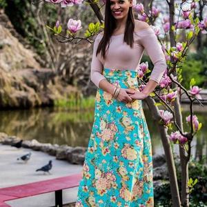 Flower Power, Táska, Divat & Szépség, Ruha, divat, Női ruha, Szoknya, Varrás, Kellemes elasztikus pamutvászonból készült maxi szoknya. A harmadik fotón látható, milyen színekben/..., Meska