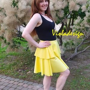 Summer in Yellow - szoknya, Táska, Divat & Szépség, Ruha, divat, Női ruha, Szoknya, Varrás, A nyár főszereplője lehet ez a kanárisárga dzsörzé szoknya. Romantikus, elegáns és egyben kislányos ..., Meska