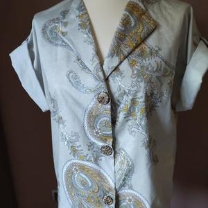 Vintage Garden - blúz, Blúz, Női ruha, Ruha & Divat, Varrás, Pamut szaténból készült kellemes rövid ujjú blúz. Keleties minta világ és romantikus, ám letisztult ..., Meska