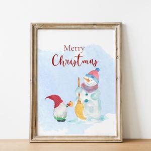 """Kézzel festett,akvarell skandináv manó és hóember, nyomtatható karácsonyi üdvözlőlap, karácsonyi dekoráció,ajándék., Otthon & lakás, Dekoráció, Lakberendezés, Karácsony, Karácsonyi dekoráció, Mindenmás, Fotó, grafika, rajz, illusztráció, \""""Merry Christmas\""""  Kézzel festett akvarell skandináv manó és hóember, nyomtatható karácsonyi üdvözlő..., Meska"""