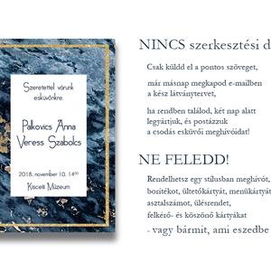Esküvői meghívó különleges borítékban - kékmárvány (viori) - Meska.hu