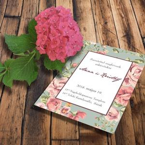 Esküvői meghívó és szett, virágos keretes, Esküvő, Naptár, képeslap, album, Meghívó, ültetőkártya, köszönőajándék, Képeslap, levélpapír, Fotó, grafika, rajz, illusztráció, Virágos keretes esküvői szett: Egyszerre trendi és romantikus ez a virágmintás, keretes meghívó. Ki..., Meska