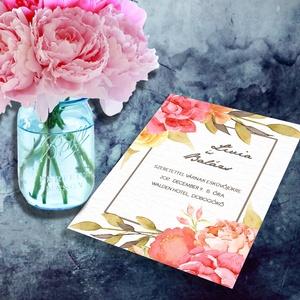 Virágoskert esküvői meghívó és szett, Esküvő, Naptár, képeslap, album, Meghívó, ültetőkártya, köszönőajándék, Képeslap, levélpapír, Fotó, grafika, rajz, illusztráció, Virágoskert esküvői meghívó és szett: Burjánzó virágok, finom akvarellel festve, mégis élénk színek..., Meska