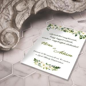 Romantikus virágos esküvői meghívó és szett, Esküvő, Naptár, képeslap, album, Meghívó, ültetőkártya, köszönőajándék, Képeslap, levélpapír, Fotó, grafika, rajz, illusztráció, Romantikus virágos esküvői meghívó és szett: Igazi klasszikus: finom, akvarell virágok lágy pasztel..., Meska