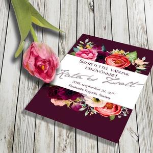 Virágözön esküvői meghívó és szett, Esküvő, Naptár, képeslap, album, Meghívó, ültetőkártya, köszönőajándék, Fotó, grafika, rajz, illusztráció, VIRÁGÖZÖN: Színpompás virágok özöne, elegáns, sötét marsala színű háttéren. Kiváló minőségű, vastag..., Meska