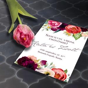 Klasszikus, színpompás, virágos esküvői meghívó, Esküvő, Naptár, képeslap, album, Meghívó, ültetőkártya, köszönőajándék, Képeslap, levélpapír, Fotó, grafika, rajz, illusztráció, Klasszikus, virágos esküvői meghívó és szett: Színpompás virágok özöne, klasszikus elrendezésben. K..., Meska
