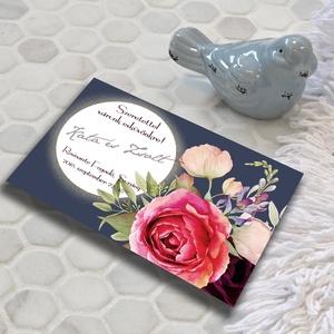 Kék esküvői meghívó és szett, Esküvő, Naptár, képeslap, album, Meghívó, ültetőkártya, köszönőajándék, Képeslap, levélpapír, Fotó, grafika, rajz, illusztráció, Színpompás virágok özöne, elegáns, sötétkék háttéren. Kiváló minőségű, vastag (250 grammos) offszet..., Meska