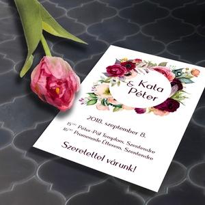 Színpompás virágos esküvői meghívó és szett, Esküvő, Naptár, képeslap, album, Meghívó, ültetőkártya, köszönőajándék, Képeslap, levélpapír, Fotó, grafika, rajz, illusztráció, Színpompás virágözön esküvői meghívó és szett: Színpompás virágok özöne, különleges kör alakú keret..., Meska