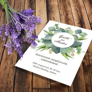 Zöld leveles esküvői meghívó és szett, Esküvő, Naptár, képeslap, album, Meghívó, ültetőkártya, köszönőajándék, Képeslap, levélpapír, Fotó, grafika, rajz, illusztráció, Zöld leveles esküvői meghívó és szett: Zöld eukaliptusz levelek, ágak, különleges kör alakú keretbe..., Meska