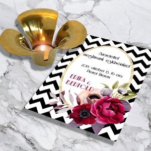 Glamouros chevron mintás esküvői meghívó és szett, Esküvő, Naptár, képeslap, album, Meghívó, ültetőkártya, köszönőajándék, Képeslap, levélpapír, Fotó, grafika, rajz, illusztráció, Glamouros chevron mintás esküvői meghívó és szett: Vintage hangulat, chevron mintán buja virágok, l..., Meska