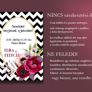 Esküvői meghívó különleges borítékban - chevron mintás (viori) - Meska.hu