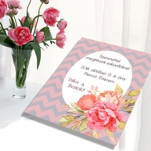 Romantikus chevron mintás esküvői meghívó és szett, Esküvő, Naptár, képeslap, album, Meghívó, ültetőkártya, köszönőajándék, Képeslap, levélpapír, Fotó, grafika, rajz, illusztráció, Romantikus chevron mintás esküvői meghívó és szett: Vintage hangulat, chevron mintán festett virágo..., Meska