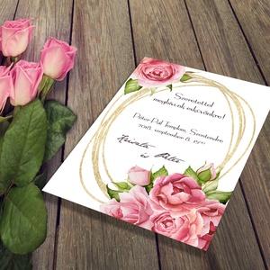 Klasszikus, rózsás esküvői meghívó és szett, Esküvő, Naptár, képeslap, album, Meghívó, ültetőkártya, köszönőajándék, Képeslap, levélpapír, Fotó, grafika, rajz, illusztráció, Rózsás esküvői meghívó és szett: Az esküvők virágai: festett rózsák, rózsaszínben - egy cseppnyi ar..., Meska