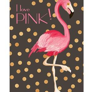 Flamingó kép, arany glamour csillogás, Dekoráció, Otthon, lakberendezés, Képzőművészet, Naptár, képeslap, album, Fotó, grafika, rajz, illusztráció, Pink flamingó, csillogó arany konfetti esőben, sötétbarna háttéren. Csajos, glamouros szobába ajánl..., Meska