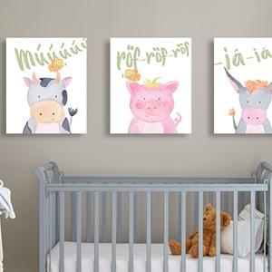 Állatok a farmról - kép gyerekszobába, babaszobába, Lakberendezés, Otthon & lakás, Gyerek & játék, Gyerekszoba, Baba falikép, Falikép, Fotó, grafika, rajz, illusztráció, Kedves képsorozat háztáji állatokkal, az iskolások rajzait idéző stílusban. A finom pasztellszínű ak..., Meska