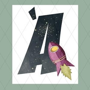 Űrhajós betűk, fiúszobába, Baba-mama-gyerek, Otthon, lakberendezés, Gyerekszoba, Baba falikép, Fotó, grafika, rajz, illusztráció, Fiús feliratok űrhajókkal, bolygókkal, üstökösökkel, meteorrajjal, galaxisokkal - a Hold, a Föld, s..., Meska