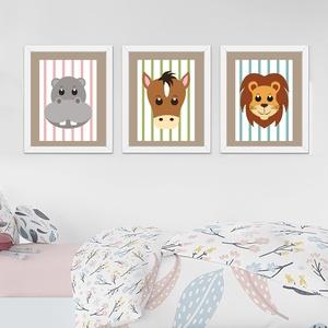 Állatok csíkosban - képsorozat gyerekszobába, babaszobába, Otthon, lakberendezés, Baba-mama-gyerek, Gyerekszoba, Baba falikép, Fotó, grafika, rajz, illusztráció, Kedves képsorozat állatok portréjával, vidám színes csíkos háttéren. A számítógépes grafikákat kivá..., Meska