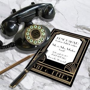 Art Deco esküvői meghívó és szett, Esküvő, Naptár, képeslap, album, Meghívó, ültetőkártya, köszönőajándék, Képeslap, levélpapír, Fotó, grafika, rajz, illusztráció, Art Deco esküvői meghívó és szett: Igazi Nagy Gatsby életérzés: arany és fekete art deco motívumok...., Meska