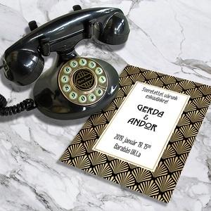 Art Deco esküvői meghívó és szett, Esküvő, Naptár, képeslap, album, Meghívó, ültetőkártya, köszönőajándék, Képeslap, levélpapír, Fotó, grafika, rajz, illusztráció, Art Deco esküvői meghívó és szett: Igazi Nagy Gatsby életérzés: arany és fekete art deco motívummal..., Meska