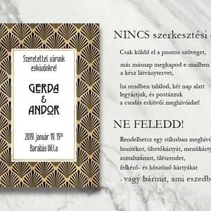 Esküvői meghívó különleges borítékban - art deco mintával (viori) - Meska.hu