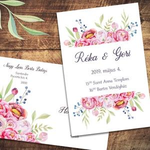 Esküvői meghívó különleges borítékban, virágokkal, pünkösdi rózsával, Esküvő, Naptár, képeslap, album, Meghívó, ültetőkártya, köszönőajándék, Képeslap, levélpapír, Fotó, grafika, rajz, illusztráció, Vidám, színpompás virágok özöne. A leginkább pünkösdi rózsára hasonlító virágok alul és felül keret..., Meska