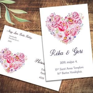 Esküvői meghívó különleges borítékban, szív alakban virágokkal, pünkösdi rózsával, Esküvő, Naptár, képeslap, album, Meghívó, ültetőkártya, köszönőajándék, Képeslap, levélpapír, Fotó, grafika, rajz, illusztráció, Vidám, színpompás virágok özöne. A leginkább pünkösdi rózsára hasonlító virágok romantikus szív ala..., Meska