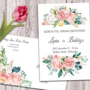 Esküvői meghívó különleges borítékban, pasztell virágokkal (viori) - Meska.hu