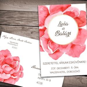 Esküvői meghívó nagy virággal, Esküvő, Meghívó, ültetőkártya, köszönőajándék, Naptár, képeslap, album, Otthon & lakás, Képeslap, levélpapír, Fotó, grafika, rajz, illusztráció, Egyetlen nagy méretű, attraktív festett virág díszíti ezt a szettet pici arany csillogással feldobva..., Meska