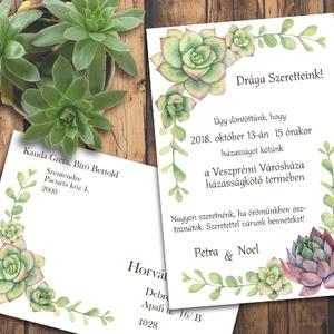 Esküvői meghívó különleges borítékban - kövirózsákkal (viori) - Meska.hu