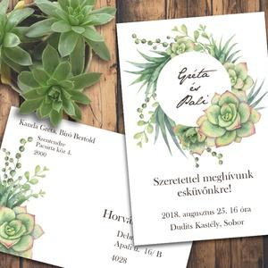 Esküvői meghívó különleges borítékban - kövirózsák kör alakban (viori) - Meska.hu