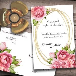 Esküvői meghívó különleges borítékban - rózsák, Esküvő, Naptár, képeslap, album, Meghívó, ültetőkártya, köszönőajándék, Képeslap, levélpapír, Fotó, grafika, rajz, illusztráció, Az esküvők virágai: festett rózsák, rózsaszínben - egy cseppnyi arany csillogással. Ha szeretnéd, h..., Meska