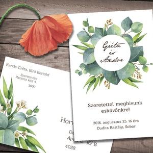 Esküvői meghívó borítékban - greenery, Esküvő, Naptár, képeslap, album, Meghívó, ültetőkártya, köszönőajándék, Képeslap, levélpapír, Fotó, grafika, rajz, illusztráció, Zöld eukaliptusz levelek, ágak, különleges kör alakú keretbe rendezve. Ha szeretnéd, hogy minden ha..., Meska