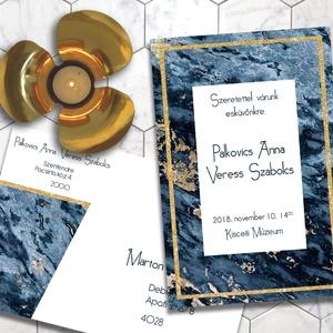 Esküvői meghívó különleges borítékban - kékmárvány, Esküvő, Naptár, képeslap, album, Meghívó, ültetőkártya, köszönőajándék, Képeslap, levélpapír, Fotó, grafika, rajz, illusztráció, Nagyon elegáns, sötétkék márvány egy kevés finom arany csillogással.  Ha szeretnéd, hogy minden har..., Meska