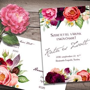 Esküvői meghívó különleges borítékban - tarka virágos, Esküvő, Meghívó, ültetőkártya, köszönőajándék, Naptár, képeslap, album, Otthon & lakás, Képeslap, levélpapír, Fotó, grafika, rajz, illusztráció, Színpompás virágok özöne, klasszikus elrendezésben.\nAz alap szett tartalma:\n-1db 10x15 cm méretű, eg..., Meska