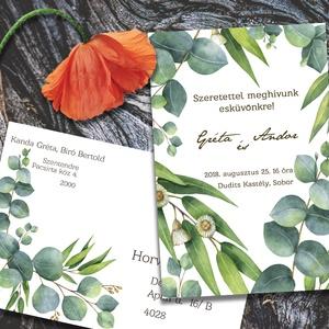 Esküvői meghívó különleges borítékban - greenery, Esküvő, Naptár, képeslap, album, Meghívó, ültetőkártya, köszönőajándék, Képeslap, levélpapír, Fotó, grafika, rajz, illusztráció, Zöld eukaliptusz levelek, ágak, a természet burjánzását idézve. Ha szeretnéd, hogy minden harmonizá..., Meska