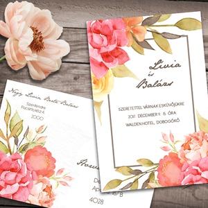Esküvői meghívó különleges borítékban - virágoskert, Esküvő, Meghívó, ültetőkártya, köszönőajándék, Naptár, képeslap, album, Otthon & lakás, Képeslap, levélpapír, Fotó, grafika, rajz, illusztráció, Burjánzó virágok, finom akvarellel festve, mégis élénk színekben.\n\nAz alap szett tartalma:\n-1db 10x1..., Meska