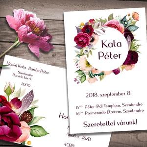 Esküvői meghívó különleges borítékban - virágözön, Esküvő, Naptár, képeslap, album, Meghívó, ültetőkártya, köszönőajándék, Képeslap, levélpapír, Fotó, grafika, rajz, illusztráció, Színpompás virágok özöne, különleges kör alakú keretbe rendezve. Ha szeretnéd, hogy minden harmoniz..., Meska