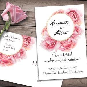 Esküvői meghívó különleges borítékban - rózsák, Esküvő, Naptár, képeslap, album, Meghívó, ültetőkártya, köszönőajándék, Képeslap, levélpapír, Fotó, grafika, rajz, illusztráció, Klasszikus rózsaszínű rózsák, különleges kör alakú keretbe rendezve, pici arany csillogással. Ha sz..., Meska
