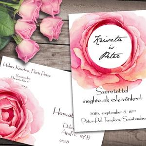 Esküvői meghívó különleges borítékban - nagy rózsa, Esküvő, Naptár, képeslap, album, Meghívó, ültetőkártya, köszönőajándék, Képeslap, levélpapír, Fotó, grafika, rajz, illusztráció, Egy hatalmas rózsaszínű rózsa keretezi a pár nevét ezen a meghívón. Ha szeretnéd, hogy minden harmo..., Meska
