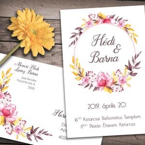 Esküvői meghívó különleges borítékban - pink sárga virágok, Esküvő, Naptár, képeslap, album, Meghívó, ültetőkártya, köszönőajándék, Képeslap, levélpapír, Fotó, grafika, rajz, illusztráció, Vibráló színek: pink és sárga virágok és ágak díszítik ezt a meghívót. Vidám, színpompás, és nagyon..., Meska