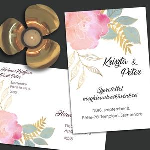 Esküvői meghívó arany vonalakkal rajzolt, Esküvő, Meghívó, Meghívó & Kártya, A mostanában divatos line art stílusban rajzolt, arany vonalas virágok akvarell foltokkal tarkítva. ..., Meska