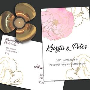 Esküvői meghívó arany vonalakkal rajzolt, Esküvő, Meghívó, Meghívó & Kártya, A mostanában divatos line art stílusban rajzolt, hatalmas virágok arany vonalakból megkomponálva, pa..., Meska