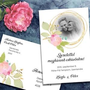 Fényképes esküvői meghívó különleges borítékban, Esküvő, Naptár, képeslap, album, Meghívó, ültetőkártya, köszönőajándék, Képeslap, levélpapír, Fotó, grafika, rajz, illusztráció, Tegyétek egyedivé esküvői meghívótokat a saját fotótokkal! Bármelyik grafikámba belekomponálom a fé..., Meska