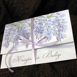Esküvői meghívó lila akáccal, Esküvő, Meghívó, ültetőkártya, köszönőajándék, Naptár, képeslap, album, Otthon & lakás, Képeslap, levélpapír, Fotó, grafika, rajz, illusztráció, A meghívót egy dúsan leomló akác ág díszíti, telis-tele világoslila virágokkal. Egy hozzáillő, halvá..., Meska