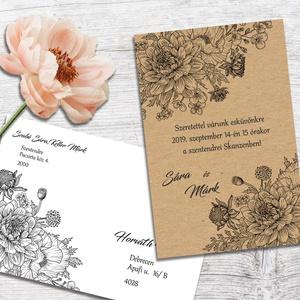 Esküvői meghívó vintage virágos rajzzal, Esküvő, Otthon & lakás, Meghívó, ültetőkártya, köszönőajándék, Naptár, képeslap, album, Képeslap, levélpapír, Fotó, grafika, rajz, illusztráció, A meghívót virágcsokor díszíti, vintage stílusban, finom vonalakkal megrajzolva. Igazán rusztikusan..., Meska