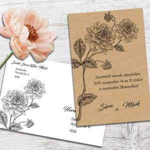 Esküvői meghívó borítékban, vintage virágos rajzzal (viori) - Meska.hu
