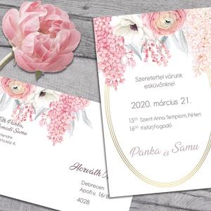 Esküvői meghívó különleges borítékban, pasztell virágokkal, Esküvő, Meghívó, ültetőkártya, köszönőajándék, Naptár, képeslap, album, Otthon & lakás, Képeslap, levélpapír, Fotó, grafika, rajz, illusztráció, Csodás, pasztell virágok díszítik ezt a meghívót. A borítékra ugyanaz a grafika van nyomtatva.\nAz al..., Meska