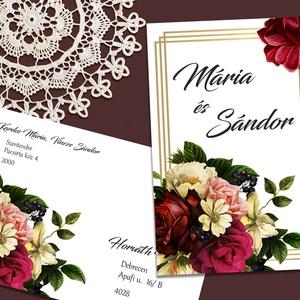 Esküvői meghívó vintage virágokkal, Meghívó, Meghívó & Kártya, Esküvő, Fotó, grafika, rajz, illusztráció, Vintage jellegű virágok díszítik ezt a meghívót.\n\nNINCS SZERKESZTÉSI DÍJ!\nVéleményem szerint a megfe..., Meska