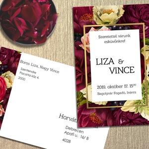 Esküvői meghívó különleges borítékban, vintage virágokkal, Esküvő, Meghívó, ültetőkártya, köszönőajándék, Naptár, képeslap, album, Otthon & lakás, Képeslap, levélpapír, Fotó, grafika, rajz, illusztráció, Vintage jellegű virágok díszítik ezt a meghívót. A borítékra ugyanaz a grafika van nyomtatva.\nAz ala..., Meska