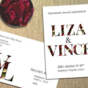 Esküvői meghívó vintage virágos and, Meghívó, Meghívó & Kártya, Esküvő, Fotó, grafika, rajz, illusztráció, A pár neve a dísze ennek a meghívónak. \nÉrdekessége, hogy a betűk vintage jellegű virágokból állnak...., Meska